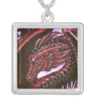 Ruby Dragon Square Necklace