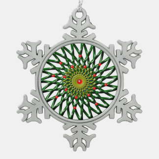 Ruby Flower Pewter Snowflake Ornament