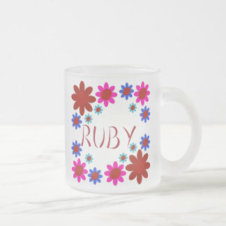 RUBY Flowers Frosted Glass Coffee Mug