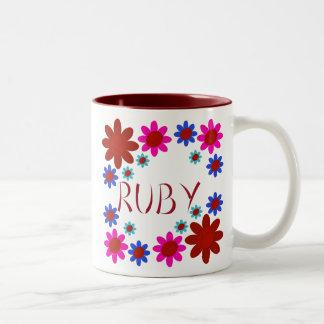 RUBY Flowers Two-Tone Coffee Mug