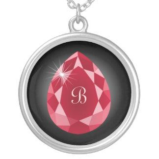 Ruby Gem Monogram Necklace