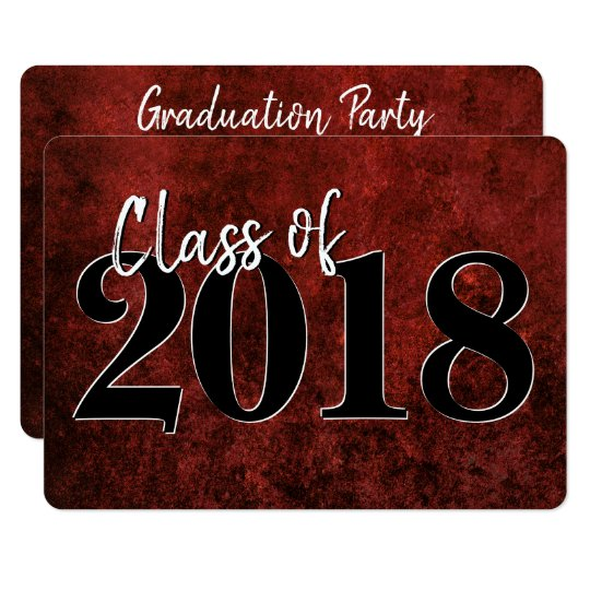 Ruby Graduation   Red Black White Modern Grad Card