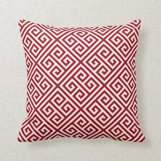 Ruby Greek Key Pattern Cushion