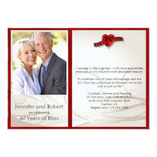 Ruby Heart 40th Wedding Anniversary Invitation