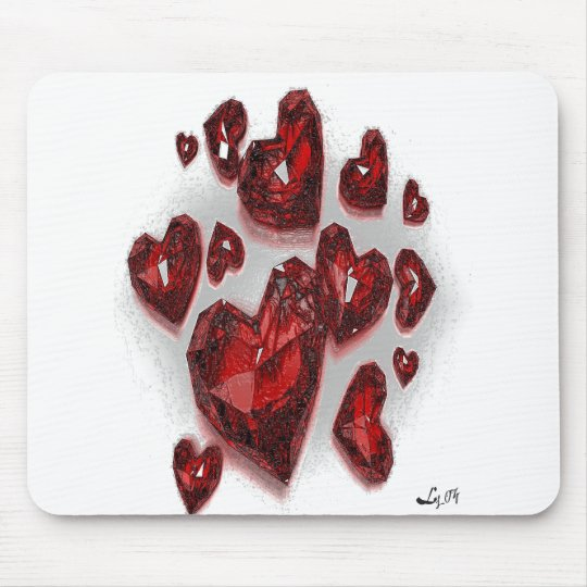 RUBY HEARTS BY LIZ LOZ MOUSE MAT