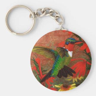 Ruby Hummingbird Basic Round Button Key Ring