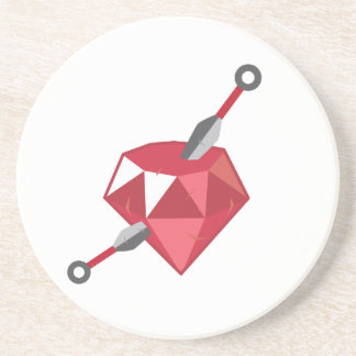 Ruby Ninja Gemstone Geek Drink Coaster