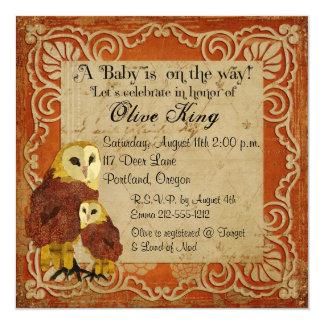 "Ruby Owls Shabby Chic  Baby Shower Invitation 5.25"" Square Invitation Card"