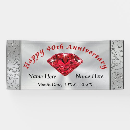 Ruby Personalised 40th Wedding Anniversary Banner