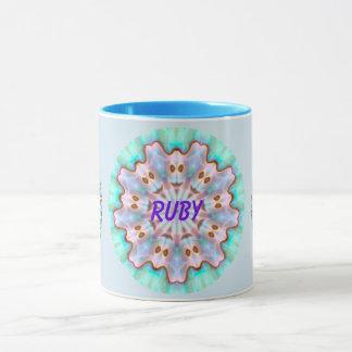 RUBY ~ Personalised Paua Shell Fractal ~ Mug