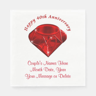 Ruby Personalized 40th Wedding Anniversary Napkins Disposable Napkin