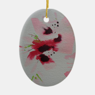 Ruby, pink and lime abstract flower spray christmas ornament