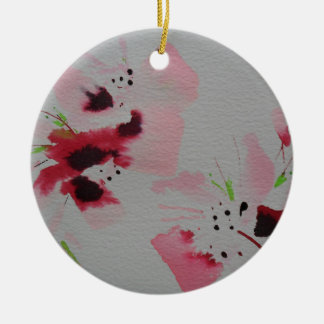 Ruby, pink and lime abstract flower spray round ceramic decoration