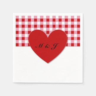 Ruby Plaid Heart Monogram Paper Napkin Wedding