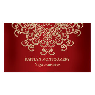 Ruby Red and Gold Ornate Sunburst Mandala Pack Of Standard Business Cards