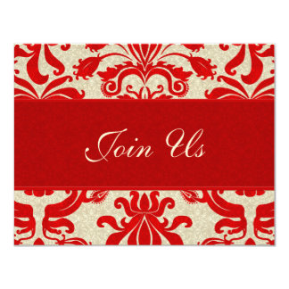 "Ruby Red and Taupe Damask | Business Invitation 4.25"" X 5.5"" Invitation Card"