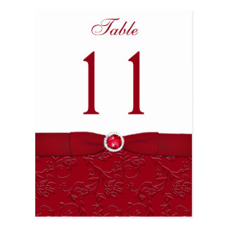 Ruby Red and White Floral Table Number Post Card