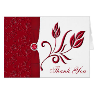 Ruby Red and White Floral Thank you Card