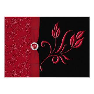 Ruby Red, Black Floral Wedding Invitation