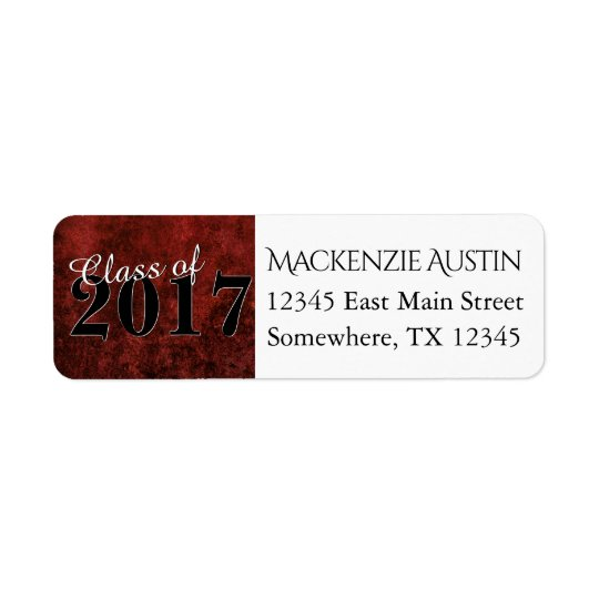 Ruby Red & Black Marble Jewel Tone Graduate Party Return Address Label