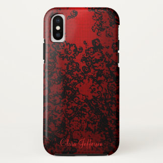 Ruby red black stylish floral vibrant bold elegant iPhone x case