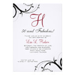 Ruby Red Black White Swirls 50th Birthday Personalized Announcement