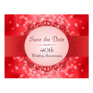 Ruby Red Bokeh Save the Date 40th Anniversary Postcard