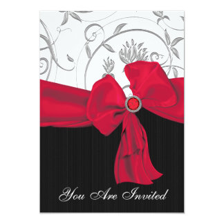 Ruby Red Bow Wedding Rehearsal Dinner Invitation