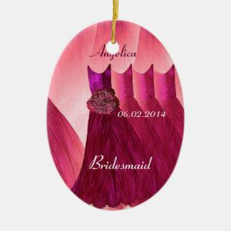 Ruby Red Bridesmaid Thank You Wedding V005 Ceramic Oval Decoration