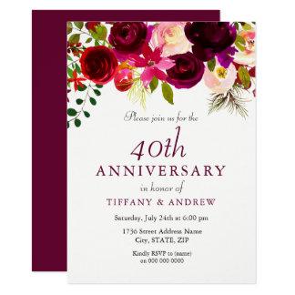 Ruby Red Burgundy Floral 40th Wedding Anniversary Card