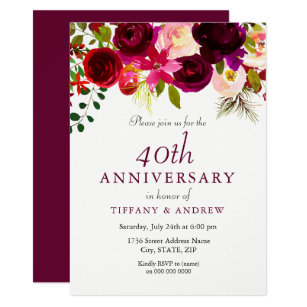 Ruby Red Burgundy Floral 40th Wedding Anniversary Invitation
