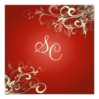 Ruby Red + cream swirls  Wedding Invitations