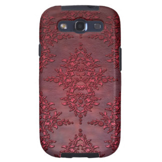 Ruby Red Distressed Damask Galaxy S3 Cover