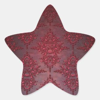 Ruby Red Distressed Damask Star Sticker