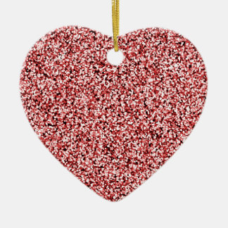 Ruby Red Faux Glitter Ceramic Heart Decoration