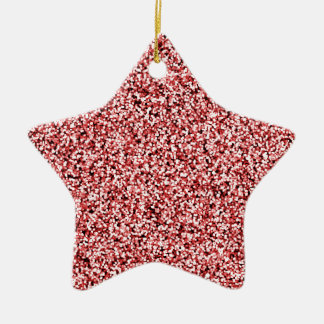 Ruby Red Faux Glitter Ceramic Star Decoration