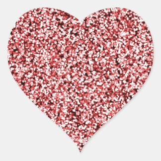 Ruby Red Faux Glitter Heart Sticker