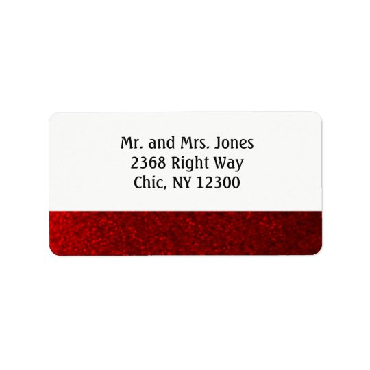 Ruby Red Faux Glitter New Address Label