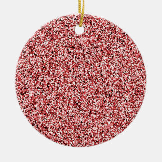 Ruby Red Faux Glitter Round Ceramic Decoration