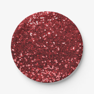 Ruby Red Faux Glitter Sparkle Print 7 Inch Paper Plate