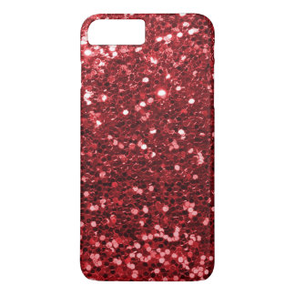 Ruby Red Faux Glitter Sparkle Print iPhone 8 Plus/7 Plus Case