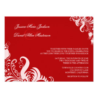 Ruby Red Floral Accent Wedding Invitation