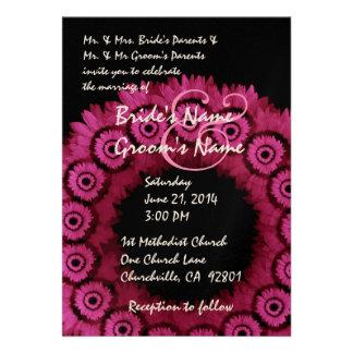 RUBY RED Flower Wreath Wedding Invitation