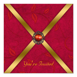 Ruby Red Jeweled Party Invitation