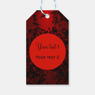 Ruby red on black floral vibrant elegant gift tags