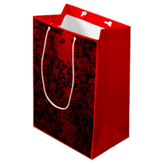 Ruby red on black floral vibrant elegant medium gift bag