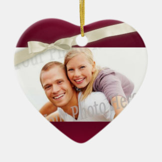 Ruby Red Photo Heart with Bow Ceramic Heart Decoration