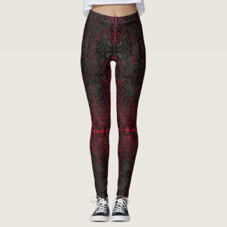 Ruby Red Romantic Weathered Gothic Crosses Pattern Leggings