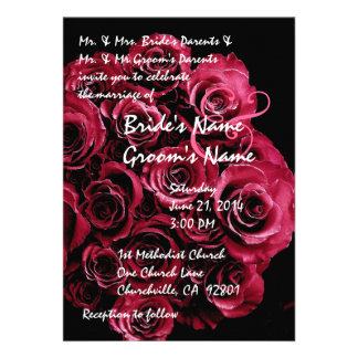 Ruby Red Rose Bouquet  Wedding Invitation