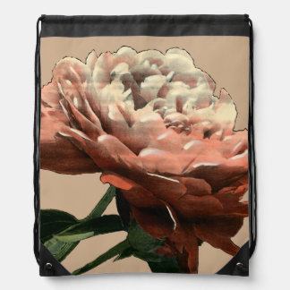 Ruby Red Rose with White Accents Drawstring Bag